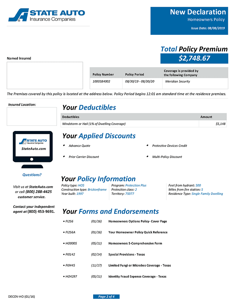 Sample Homeowners Insurance Declarations Pages